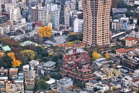 Roppongi district in Tokyo, Japan - aerial view cityscape. 免版税图像 - 127399403