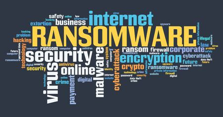 Ransomware virus - compromised computer security concept. Word cloud.