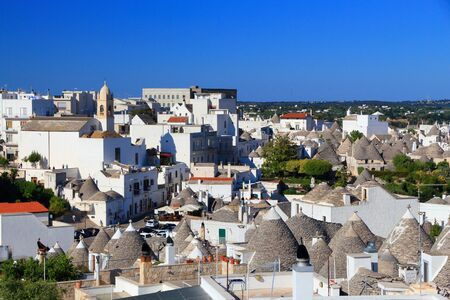 Alberobello traditional houses - trulli. Apulia region of Italy. Italian landmark. Banco de Imagens
