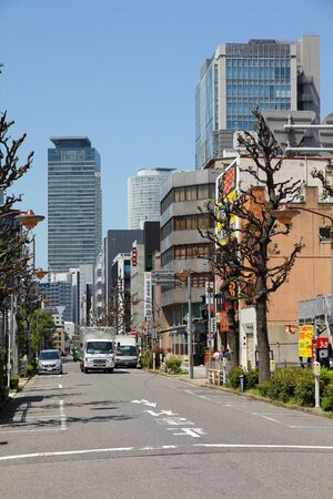 NAGOYA, JAPAN - APRIL 28, 2012: Street view in downtown Nagoya, Japan. With almost 9 million people Nagoya is the 3rd largest metropolitan area in Japan.