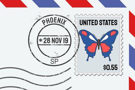 Phoenix Arizona vector postage stamp - American post stamp on a letter. Illustration
