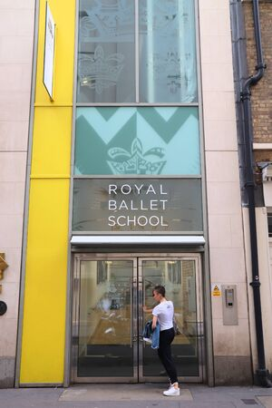 LONDON, UK - JULY 14, 2019: Student enters Royal Ballet School in London. It is one of the worlds most notable centres of classical ballet training. 報道画像