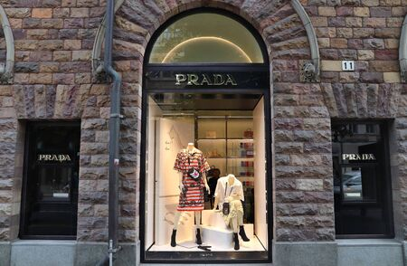 STOCKHOLM, SWEDEN - AUGUST 24, 2018: Prada fashion store at Birger Jarlsgatan, Stockholm. Birger Jarlsgatan street is home to most exclusive shopping areas in Sweden. Editorial
