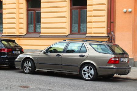 STOCKHOLM, SWEDEN - AUGUST 24, 2018: Saab 95 station wagon parked in Stockholm, Sweden. There are 4.8 million passenger cars registered in Sweden.