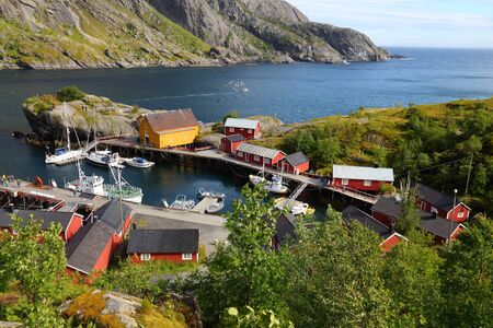 Beautiful Norway. Lofoten archipelago. Nusfjord fishing village in Flakstadoya island.