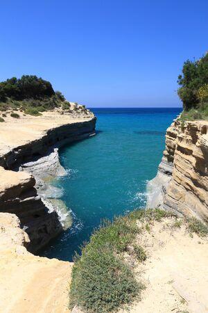 Sidari on Corfu island, Greece. Canal D'Amour rock formation - Canal of Love.