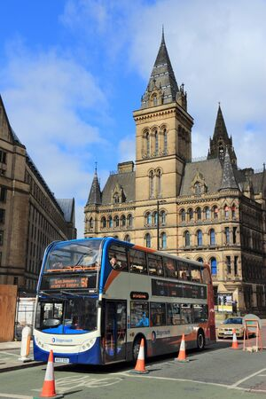 MANCHESTER, UK - APRIL 23, 2013: People ride Stagecoach city bus in Manchester, UK. Stagecoach Group has 16 percent bus market in the UK. Stagecoach UK employs 18,000 people. Redactioneel