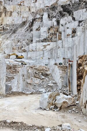 Carrara marble quarry in Colonnata. Marble works of Miseglia. Apuan Alps mountains. Standard-Bild