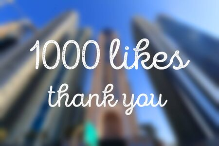 1000 likes. Social media milestone. Thank you sign. 版權商用圖片
