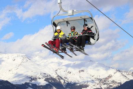 HINTERTUX, AUSTRIA - MARCH 10, 2019: Hintertux Glacier ski resort in Tyrol region, Austria. The resort is located in Zillertal valley of Central Eastern Alps (Zentralalpen).