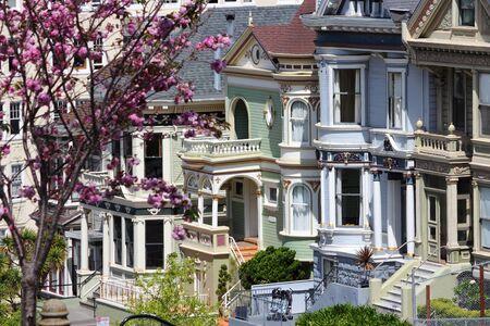 Stadt San Francisco, Kalifornien. Painted Ladies, viktorianische Häuser am Alamo Square.