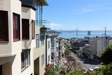 San Francisco, California - city view from Telegraph Hill with Bay Bridge. Stock Photo