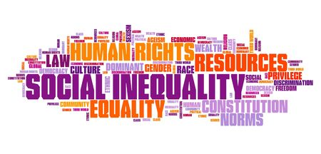 Social inequality concept. Human rights issues word cloud.