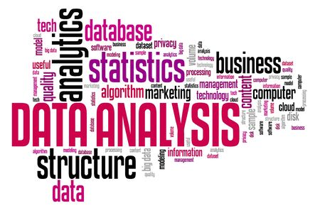 Data analysis - content analytics technology concept. Word cloud.