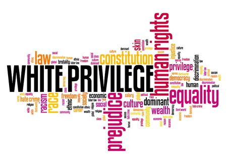 White privilege concept. Human rights issues word cloud. Imagens