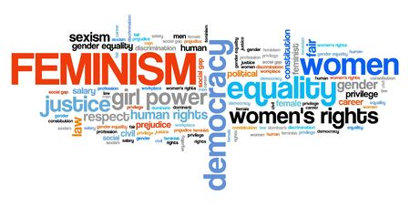 Feminism word cloud. Equal rights for women.