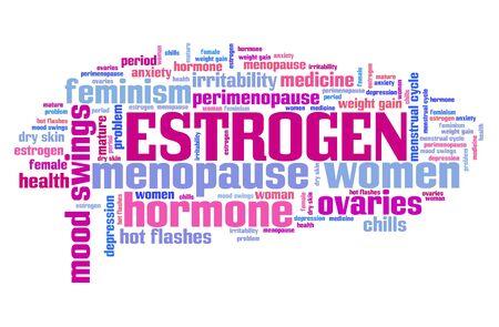 Estrogen hormone graphics concept. Womens health word cloud.