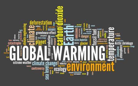 Global warming word cloud. Climate change concept. Earth climate catastrophe.