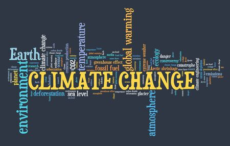 Climate change text cloud. Environment and global warming issues.