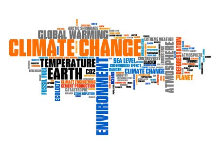 Climate change word cloud. Environment and global warming issues. Banco de Imagens
