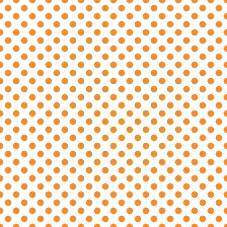Orange polka dot pattern vector. Orange on white. Polka dots texture.