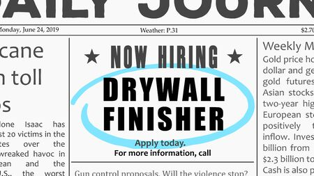 Drywall finisher - job offer. Newspaper classified ad career opportunity.