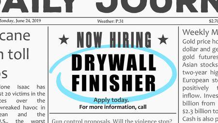 Finisseur de cloisons sèches - offre d'emploi. Opportunité de carrière dans les annonces classées dans les journaux.