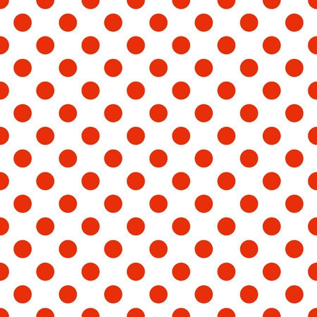 Seamless polka dot pattern vector. Red on white. Polka dots texture.  イラスト・ベクター素材