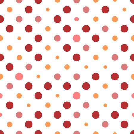 Seamless polka dot texture. Red and pink on white. Retro polka dots vector.