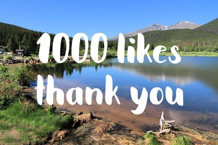 1000 likes. Social media achievement. Thank you sign.