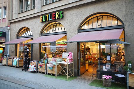 LEIPZIG, GERMANY - MAY 9, 2018: Butlers shop at Nikolai Street (Nikolaistrasse) in Leipzig, Germany. Leipzig is the 10th biggest city in Germany with 582,277 inhabitants.