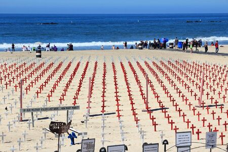 SANTA MONICA, UNITED STATES - APRIL 6, 2014: US military memorial happening in Santa Monica, California. As of 2012 more than 7 million visitors from outside of LA county visited Santa Monica annually.