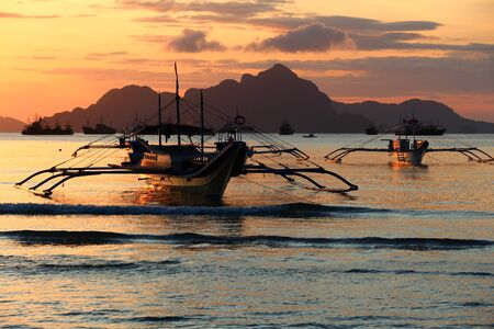 Sunset in Philippines - landscape in El Nido, Palawan island. Stock Photo