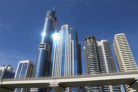 Dubai skyscrapers in Trade Centre district. Office building skyline.