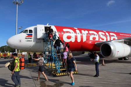 PUERTO PRINCESA, PHILIPPINES - NOVEMBER 28, 2017: Air Asia Airbus A320 at Puerto Princesa Airport, Palawan Island. The airport handled 2.1 million passengers in 2018 (6th busiest in Philippines).