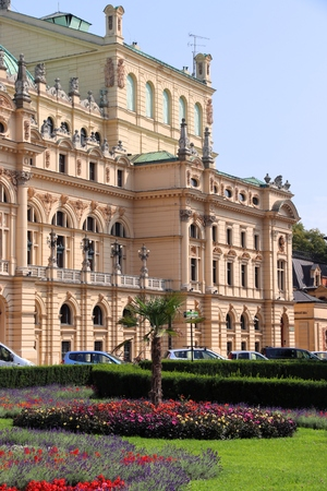 Krakow city in Poland. Juliusz Slowacki theatre - baroque landmark. Polish culture. 新聞圖片