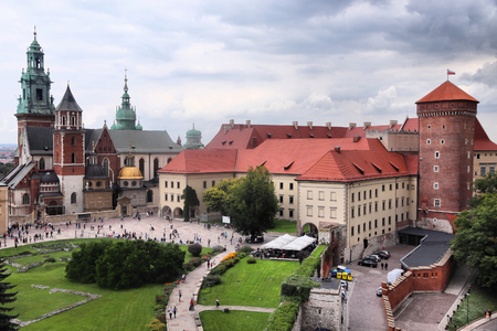 Krakow city in Poland. Wawel Cathedral and Wawel Castle.