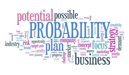 Probability in business - decision making strategy word cloud sign. 스톡 콘텐츠