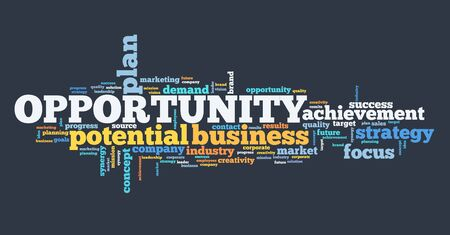 Opportunity in business - marketing strategy word cloud sign. 스톡 콘텐츠