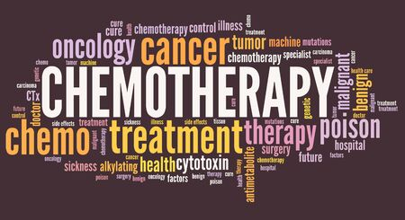 Chemotherapy treatment - cancer treatment type word cloud.
