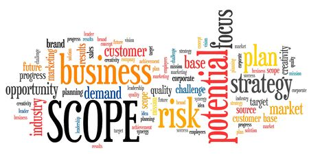 Scope in business - corporate potential and risks strategy word cloud sign.
