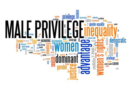 Male privilege word cloud. Gender inequality issues.
