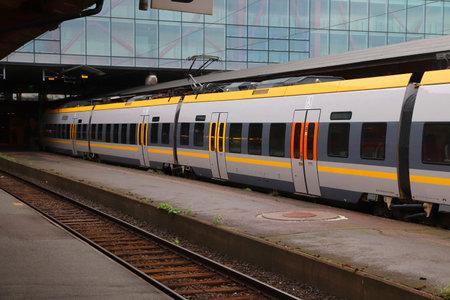 GOTHENBURG, SWEDEN - AUGUST 27, 2018: Vasttagen train in Gothenburg Central Station. Gothenburg is the 2nd busiest train station in Sweden with 27 million annual passengers. Redakční