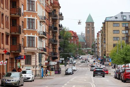 GOTHENBURG, SWEDEN - AUGUST 27, 2018: Street view in Lorensberg district of Gothenburg, Sweden. Gothenburg is the 2nd largest city in Sweden with 1 million inhabitants in the metropolitan area.