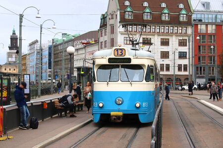 GOTHENBURG, SWEDEN - AUGUST 27, 2018: Blue tram in Gothenburg, Sweden. Gothenburg has largest tram network in Sweden with 160 km of single track.