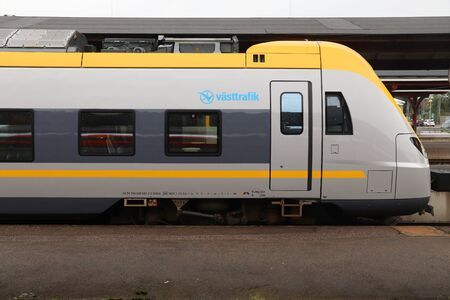 GOTHENBURG, SWEDEN - AUGUST 27, 2018: Vasttrafik train in Gothenburg Central Station. Gothenburg is the 2nd busiest train station in Sweden with 27 million annual passengers.