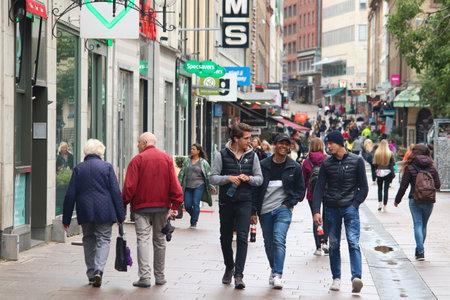 GOTHENBURG, SWEDEN - AUGUST 27, 2018: People shop at Kungsgatan street in Gothenburg, Sweden. Gothenburg is the 2nd largest city in Sweden with 1 million inhabitants in the metropolitan area. Redakční