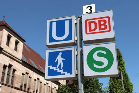 NUREMBERG, GERMANY - MAY 7, 2018: Signs for public transportation station: Deutsche Bahn (DB) and S-Bahn railway in Nuremberg, Germany. Nuremberg is located in Middle Franconia. 511,628 people live here.