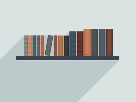 Vector bookshelf illustration. Book shelf with books at home.