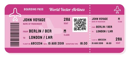 Fictitious boarding pass vector. Modern airline ticket with QR code.